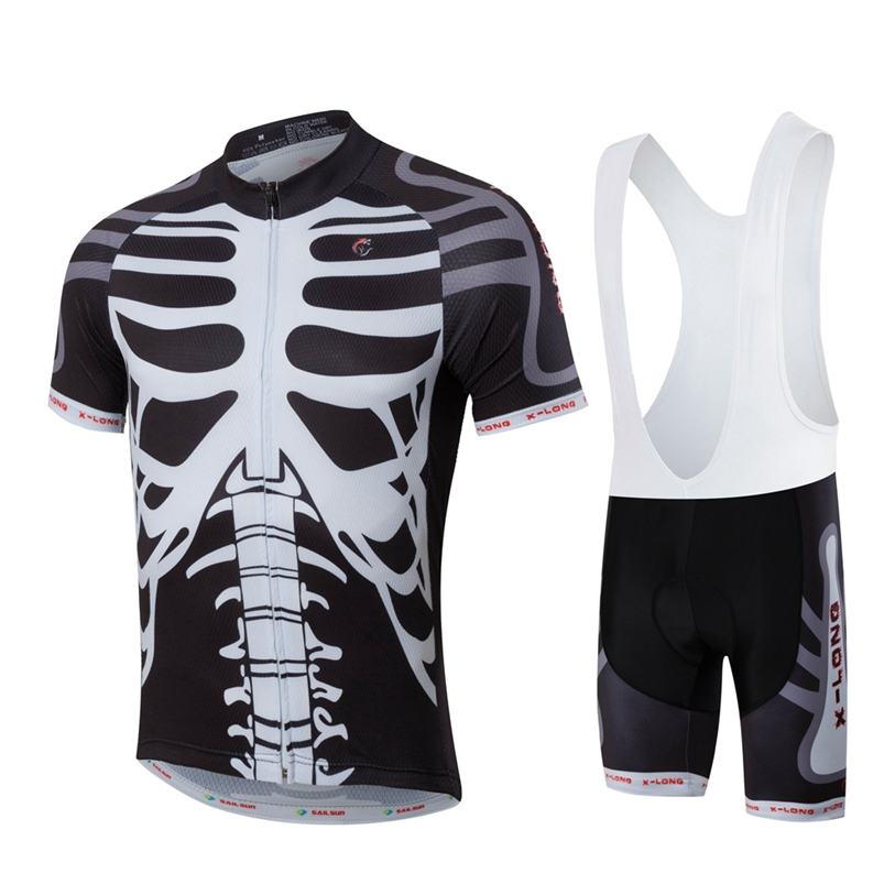 HOT SAIL SUN Men MTB Cycling Clothing Summer bike Jersey Bib Shorts White Skull Outdoor Sports Pro team ropa  Bicycle Top wear 2016 new men s cycling jerseys top sleeve blue and white waves bicycle shirt white bike top breathable cycling top ilpaladin