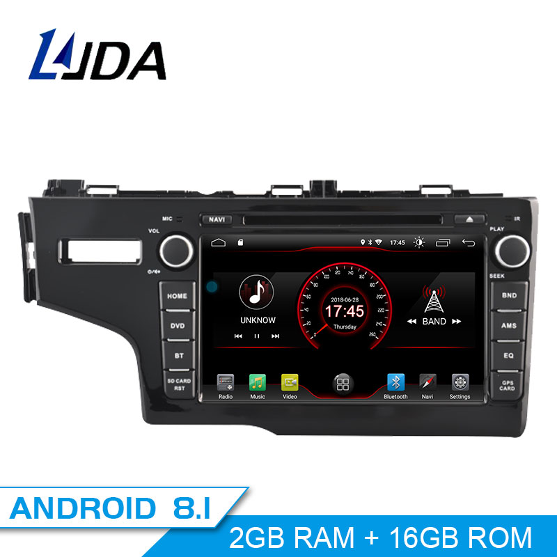 LJDA 1Din Android 8.1 Car Radio For Honda JAZZ FIT 2014 2015 WIFI Car Multimedia Player Stereo GPS Navigation DVD IPS Auto Audio