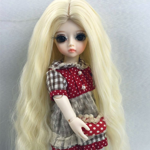 Free Shipping New Arrival 1/6 6-7 Bjd SD Doll Wig High Temperature Wire Long Style Wavy For BJD Hair Wig new 1 3 bjd wig short straight hair doll diy high temperature wire for 1 3 dd bjd sd dollfie curly restoring ancient way