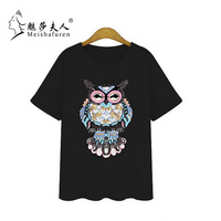 Donna Plus Size Women Fashion T Shirt Colorful Sequined Embroidery Short Sleeve Tee Tops White Cotton