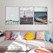 Contemporary And Simple Ocean View Living Room Decoration Painting Sofa Background Wall Hanging Murals No Frame