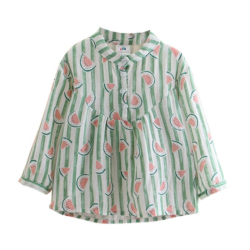 2018 Spring New Arrival Kids Clothing Children Mandarin Collar Baby Girls Watermelon Print Stripe Long Sleeve   Blouses     Shirt   Tops