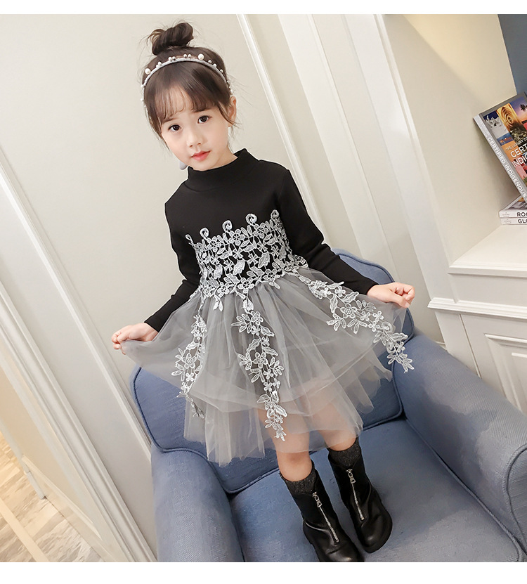 Baby Girls Clothes Lace Princess Dress Winter Autumn High Quality Long Sleeve Tulle Bubble Warm Thick Dress Evening Dresses lace autumn girls dress long sleeve