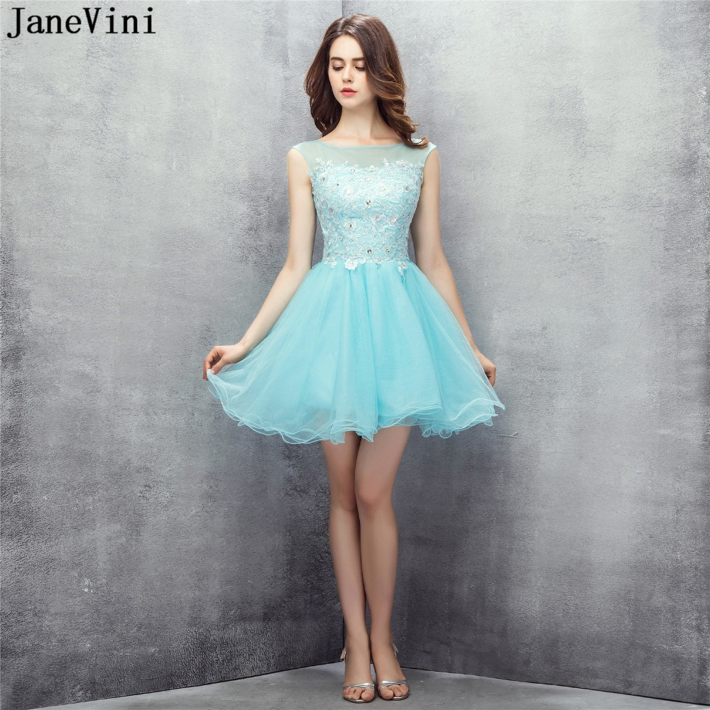 JaneVini Elegant Short Tulle   Bridesmaid     Dresses   A Line Scoop Neck Lace Appliques Crystal Women Formal Homecoming   Dress   Plus Size