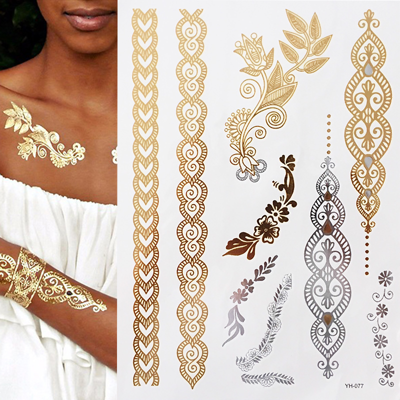 Flash Boho Metallic Gold Silver Shimmering Jewellery Festival Temporary Tattoo For Body Art Temporary Tattoos Aliexpress