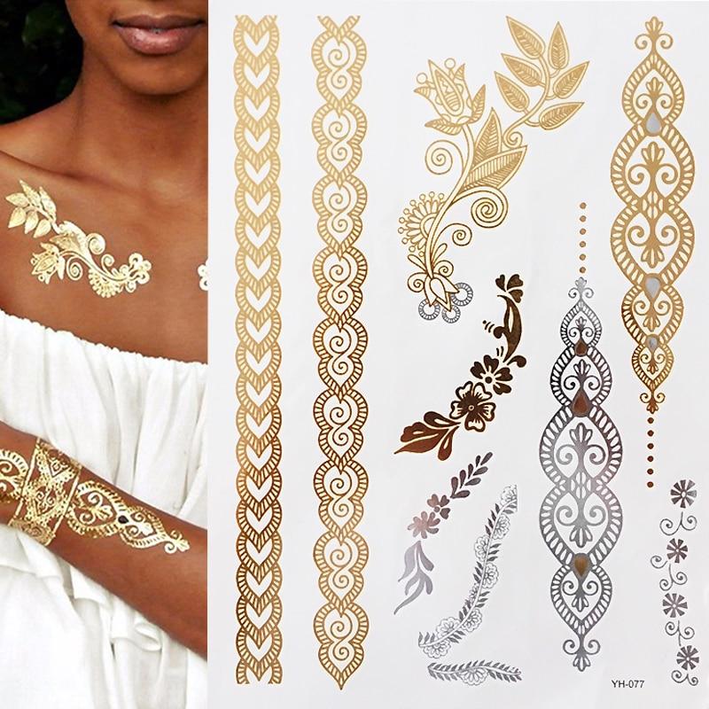 Flash Boho Metallic Gold/Silver Shimmering Jewellery Festival Temporary Tattoo For Body Art