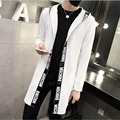 2016 Spring Autumn New Brand Men's Print Letter Hoodies Sweatshirt Long Sleeve Cotton Slim Mid-Long Hooded Open Stitch Coat