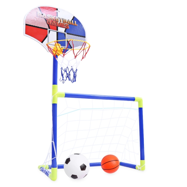 Children Portable 2 In 1 Soccer Ball Basketball Set Indoor Outdoor Sport Toy Developmental Playset Gift For Kids