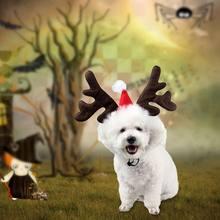 Navidad mascota perro diadema ciervo cuerno sombrero disfraz cachorros gato  Cosplay fiesta traje Cachorro accesorios Navidad 6b44a435bf2
