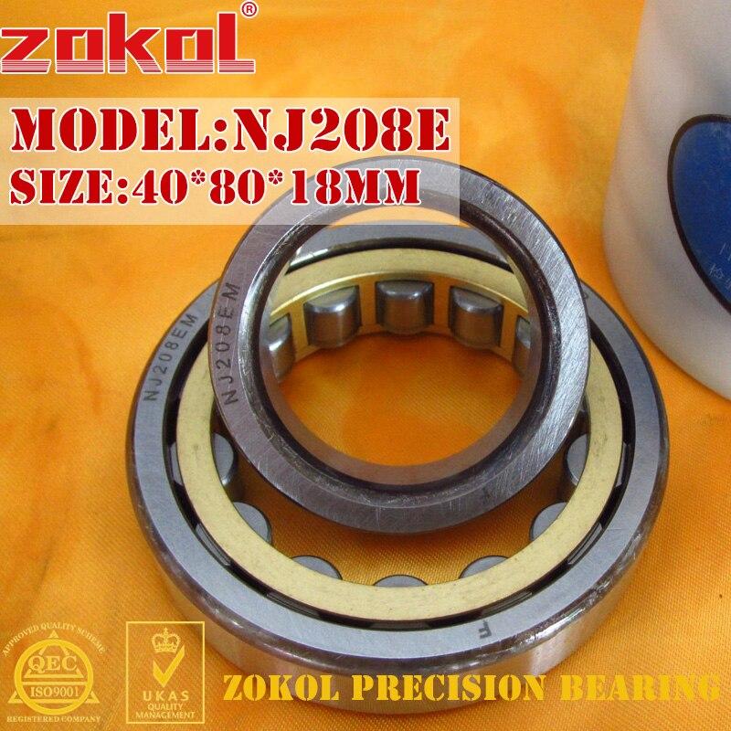 ZOKOL NJ208 E bearing NJ208E 42208E Cylindrical roller bearing 40*80*18mm mochu 22213 22213ca 22213ca w33 65x120x31 53513 53513hk spherical roller bearings self aligning cylindrical bore