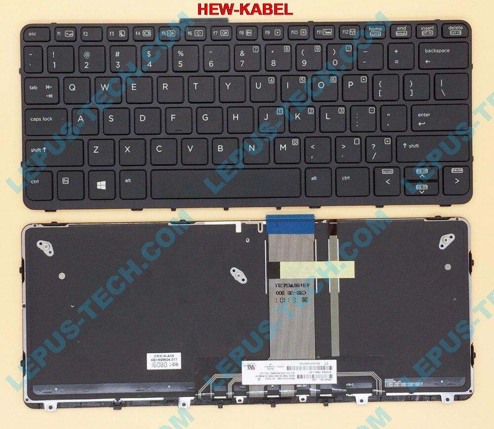 Original US Tastatur für HP PRO X2 612 G1 Englisch UNS tastatur mit hintergrundbeleuchtung mit rahmen