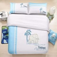 2016 NEW Queen King size embroidered elephant bedding for adults Blue White Sports Duvet Cover Sets oil painting 100% cotton