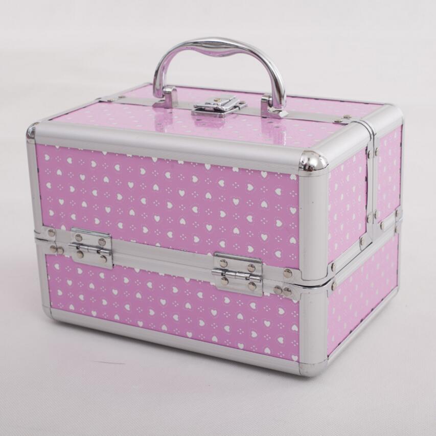 Rosa 3 Schichten Lagerung Box Schönheit Fall Für Kosmetik, Kosmetik Tasche Für Make-Up, mädchen Geschenk Schmuck Lagerung Box, organiseur de sac