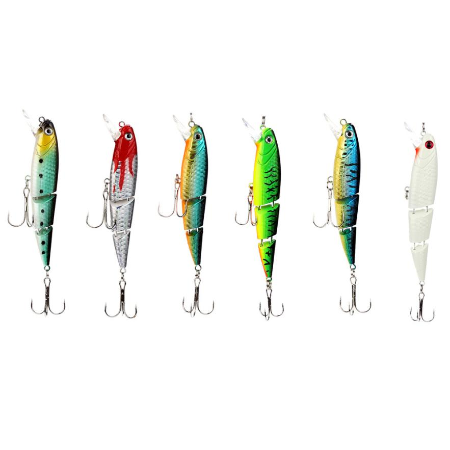 6 Pcs Set Multi Jointed Fishing Lure Bait Bass Crank Minnow Swimbait Life Like Pike NEW Plastic Crap Baits Camping Fishing P30