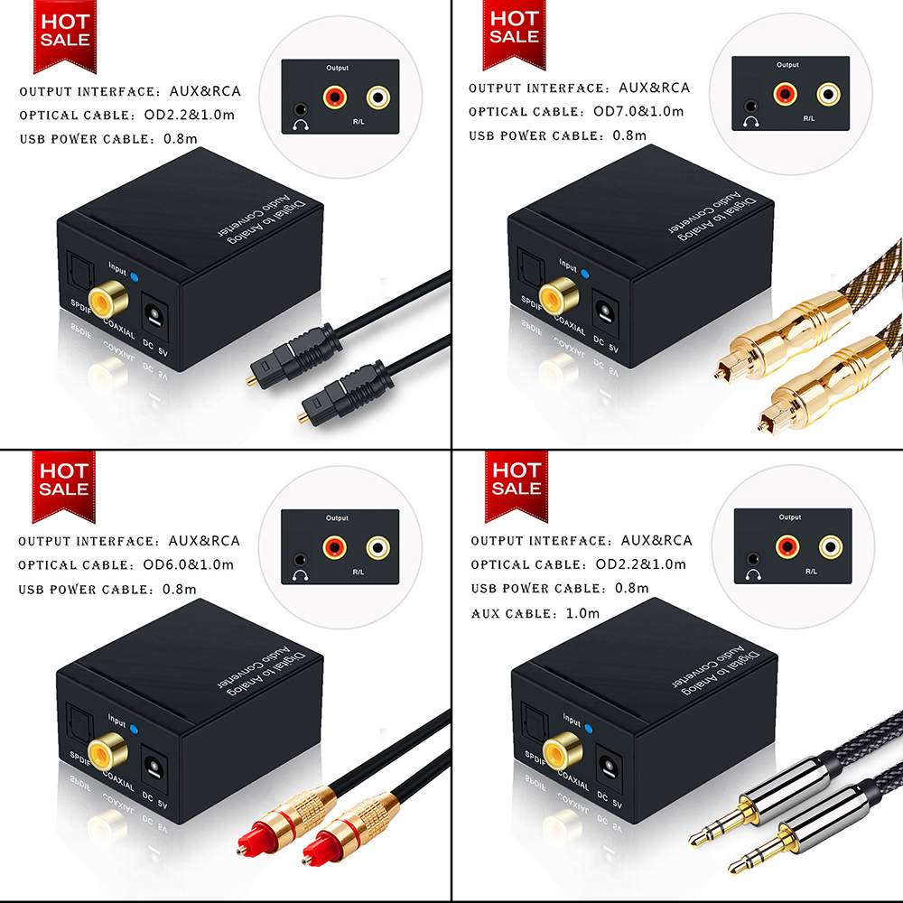 Renewed Portta Digital Coaxial Toslink to Analog RCA L//R Audio Converter with 3.5mm Jack Support Headphone//Speaker Output