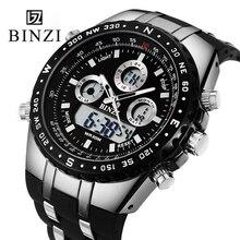 Diseño binzi marca sport reloj de los hombres negro reloj grande del dial digital militar reloj relogio masculino impermeable al aire libre