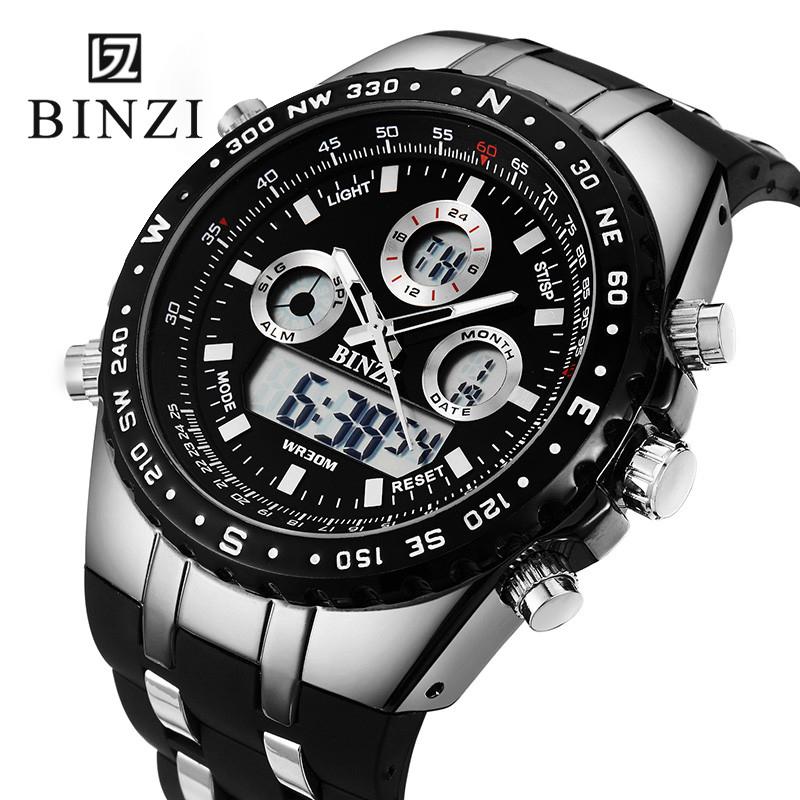 Prix pour Binzi marque sport montre hommes de noir conception montre-bracelet grand cadran militaire numérique étanche en plein air montre-bracelet relogio masculino