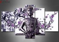CLSTROSE 5 Pieces Luxury Modern Buddha Flower Oil Paintings On Canvas 100% Handmade Purple Flower Art Buddha Wall Paintings
