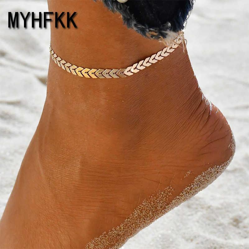 MYHFKK Bohemian Golden Silver Arrow Leg Bracelet Women Retro Anklet Beach Anklet Summer Style Sandals Chain Barefoot Chain JL001