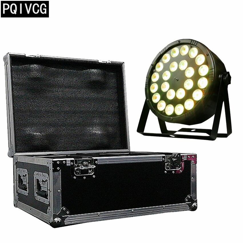8pcs lot 24x12w rgbw 4in1 led par light flight case dmx512 plastic par light professional stage