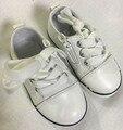 2016 de otoño de los bebés zapatos para niños zapatillas de deporte de cuero real negro niños de marca zapatillas de deporte de moda niñas caminando zapatillas de deporte blanco