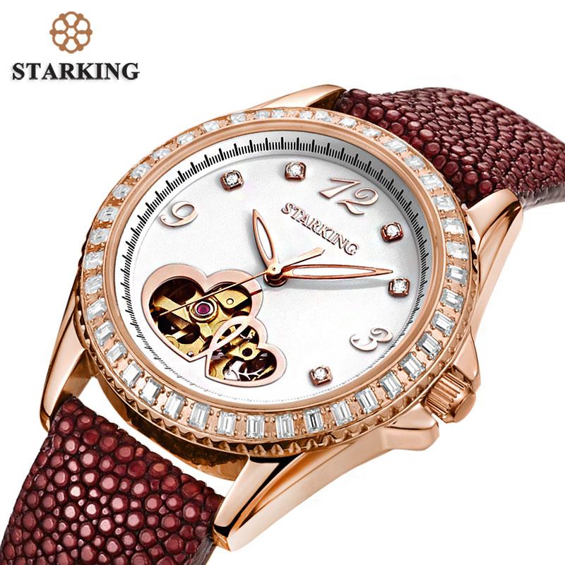 StarKing AL0128 Luxury font b Women s b font Stingray Lizard Leather Strap Fully automatic Wrist