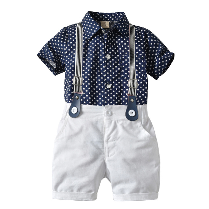Toddler Boy Clothes Set Navy Stars Shirt Tops + White Shorts with Belt Fashion Clothing Set for Baby Boy Short Suit 1