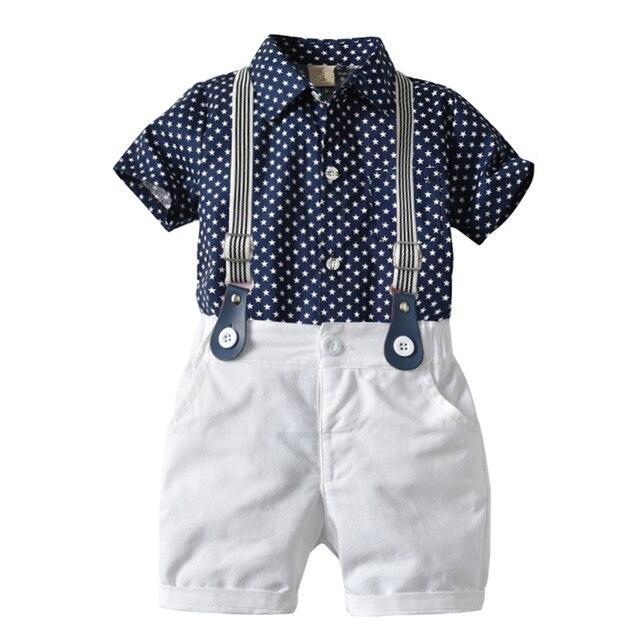 طفل صبي الملابس مجموعة البحرية نجوم قميص بلايز + السراويل البيضاء مع حزام مجموعة ملابس عصرية للطفل الصبي بدلة قصيرة