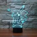3D Атмосфера лампы 7 Цвет Изменение Зрительных иллюзий СВЕТОДИОДНЫЕ Лампы Декор Покемон Пикачу Домашнее Украшение Стола для Детского Подарка