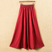 Summer Women A Line Cotton And Line Casual Skirt Vintage Pure Color Pleated Long Skirt Female
