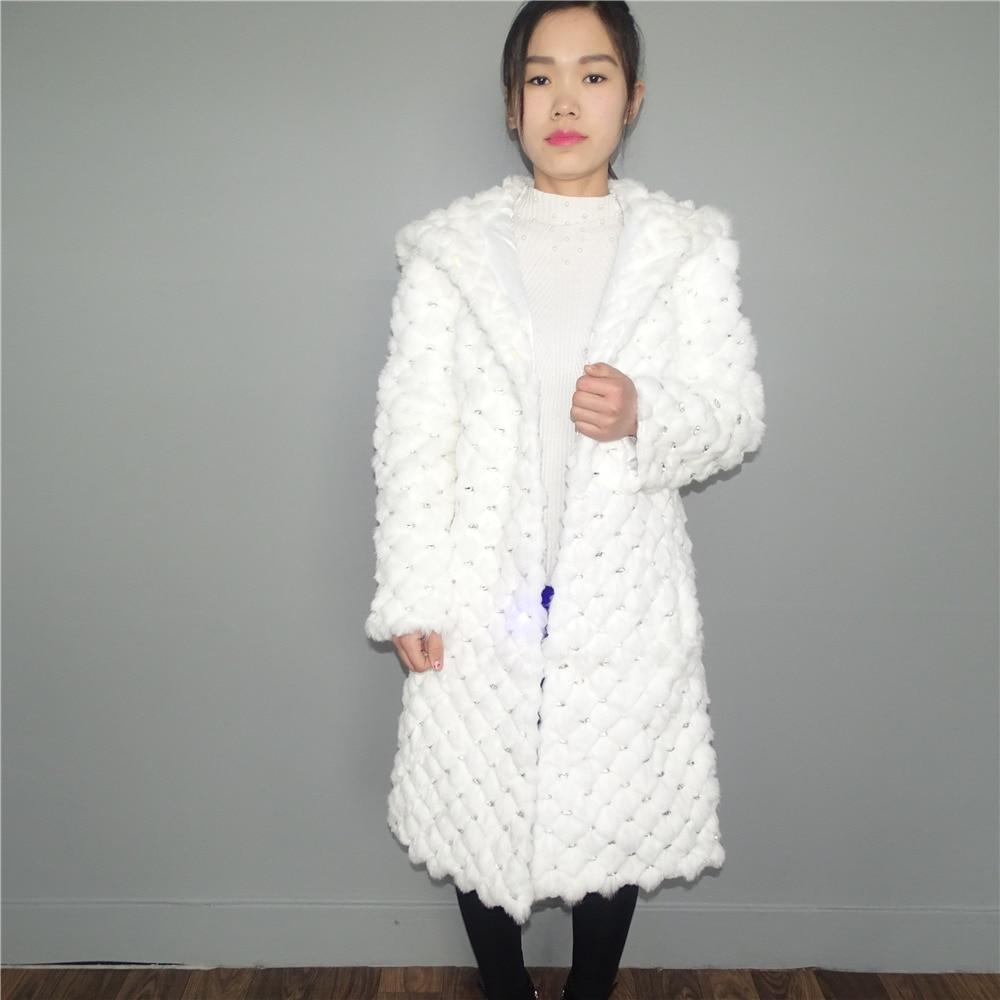 Mlhxfur 100cm White Rabbit Fur Diamond Hooded Cap Jackets Jacket Rex Rabbit Fur Coats Hooded Hoodie Coat Outwear Garment Fragrant In Flavor