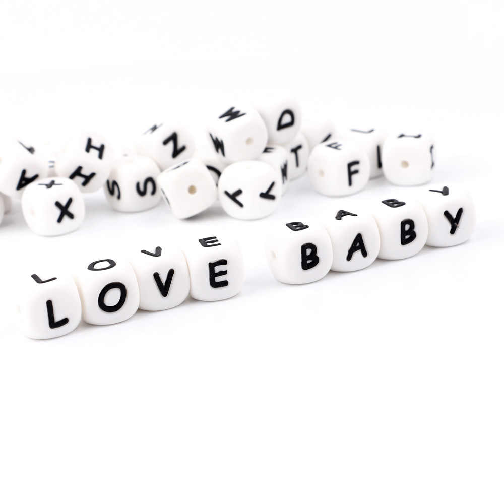 1p Letter Silicone Beads Baby Teething DIY Nipple Chain BPA Free Alphabet Beads With Letter Food Grade Silicone Necklace Beads