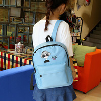 Hot Sale Canvas Women Backpack Fashion Double Shoulder Canvas Schoolbag Simple Style Designer Small Backpack