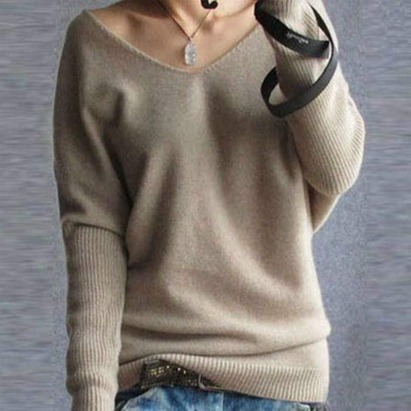 Autumn sweater 2019 women pullovers v-neck batwing long sleeve casual loose cashmere sweater female knitted sweater basic tops