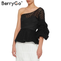 BerryGo Sexy One Shoulder Lace Hollow Out Blouse Shirt Women Ruffles Black Blouse Femme Autumn Winter