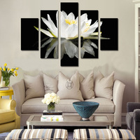 5 piece canvas art white pond lily Armies Canvas Painting decorations for home Oil Painting For Living Room\C 460