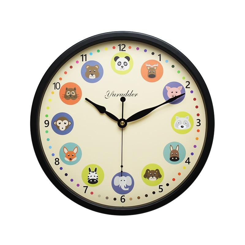 Nejnovější 12 palců kovový rám zvířecí kreslený design moderní módní dětský pokoj kulaté nástěnné hodiny dekorativní nástěnné hodiny