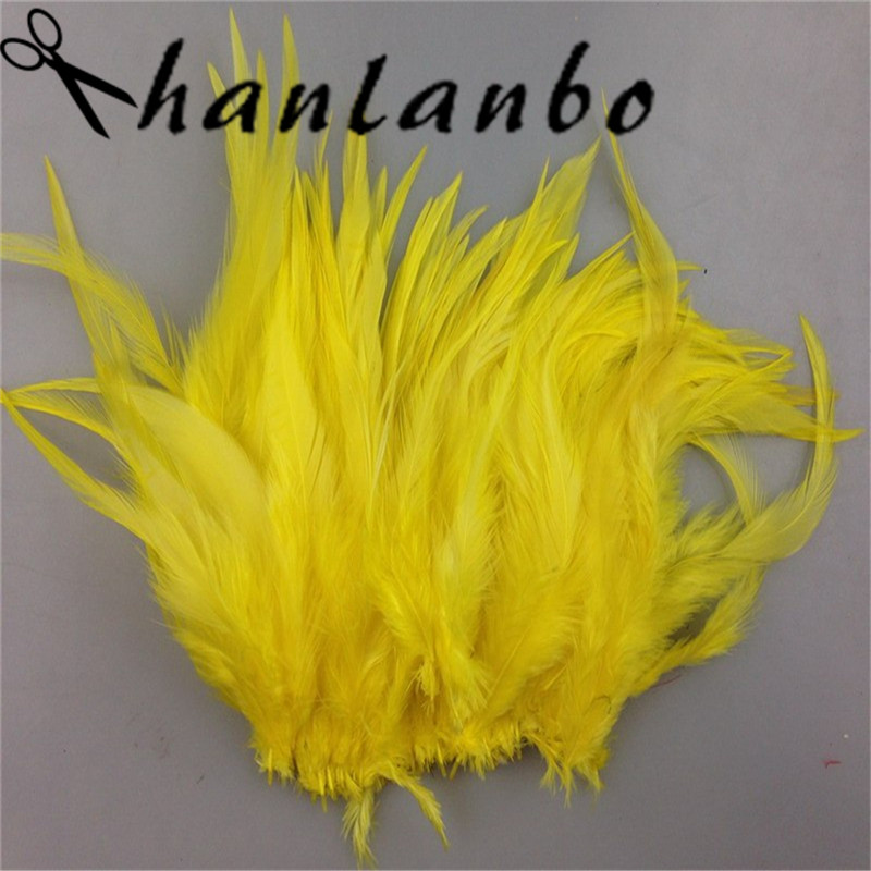 yellow rooster tail feather Height (15-20cm) 50pcs/lot for clothing make hat decor Rooster Feathers plumage fly
