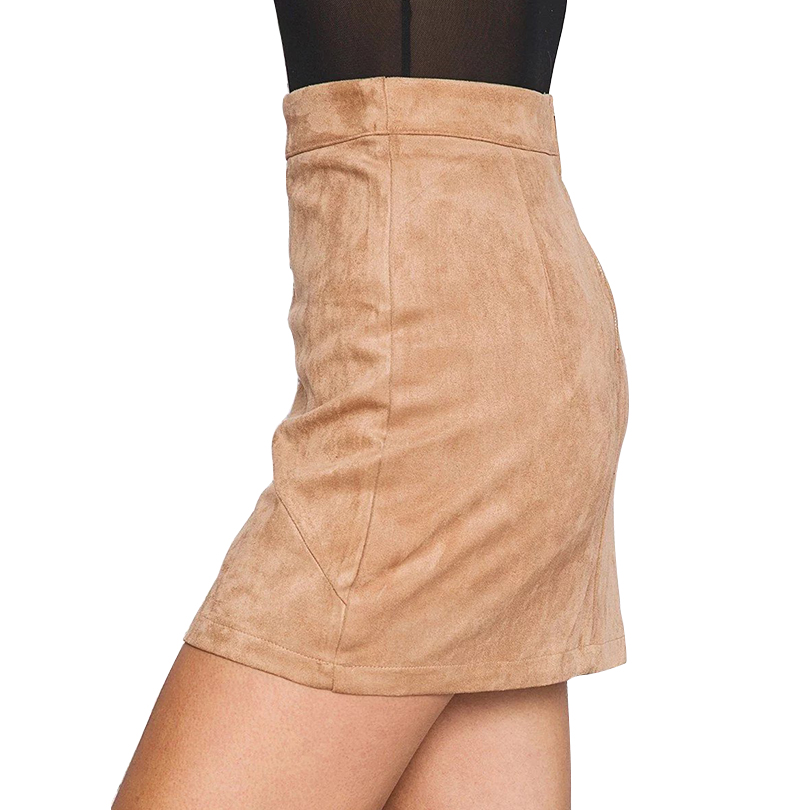 High Waist Pencil Skirt Kvinner Suede Tight Bodycon Sexy Short Mini - Kvinneklær - Bilde 2