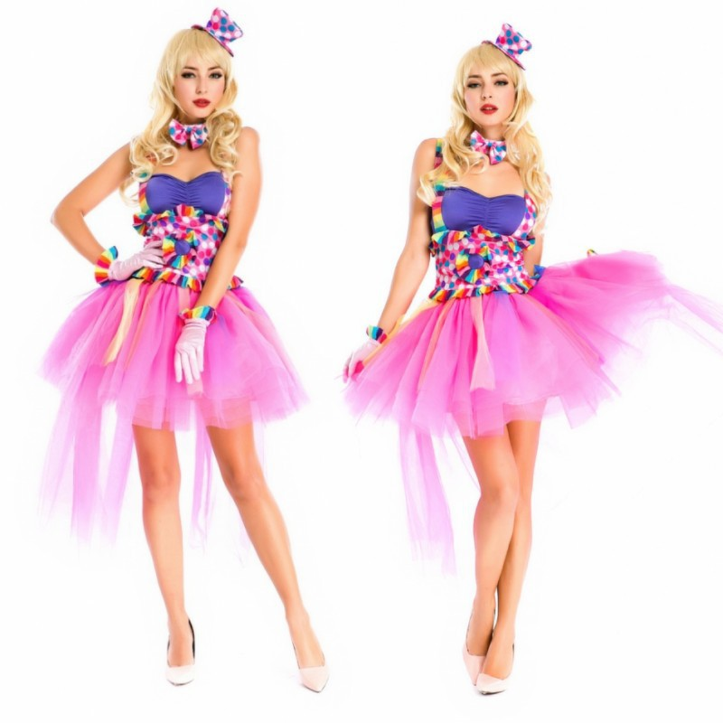 New Japanese Anime Halloween Costumes Sexy Circus Clown Color Sling Princess Dress Trainer Clothes Stage Performance Clothing