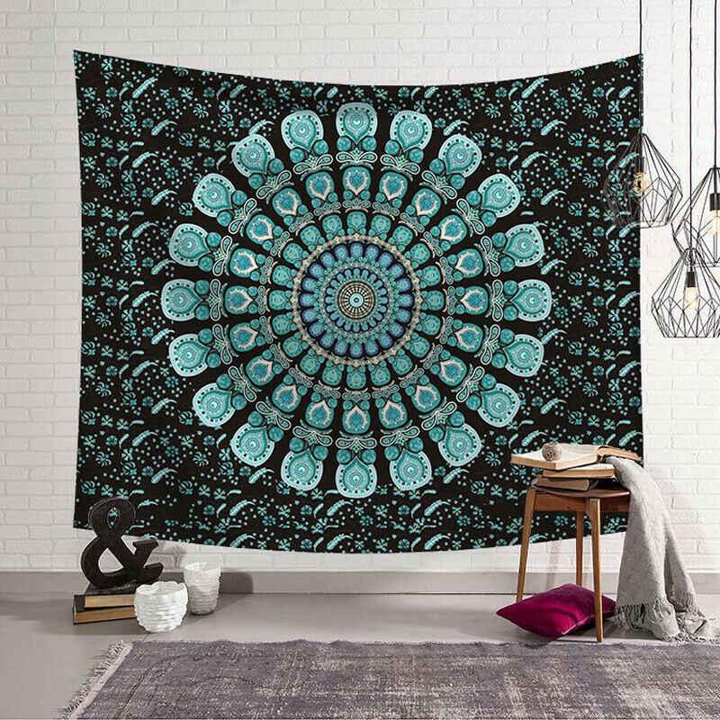 Гобелен настенный полиэстер индийская Мандала шаблон Одеяло, домашнее украшение Йога многофункциональный коврик маленький 95x73 см