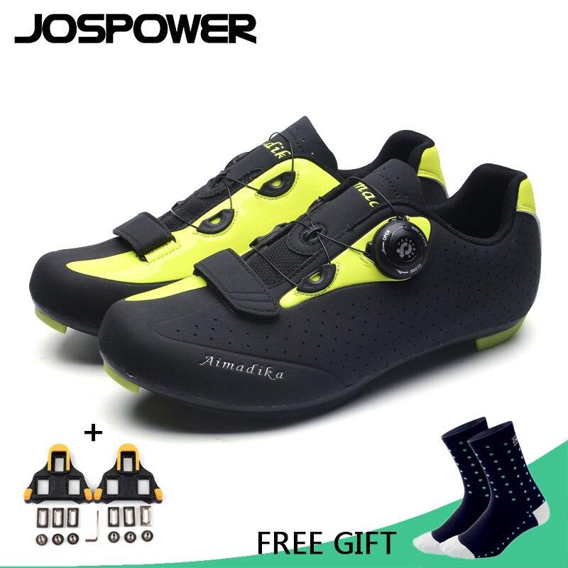 JOSPOWER MTB Road Cycling Shoes TPU Wear-Resisting Breathable Bike Shoes Auto-Locking Athletic Bicycle Shoes colour block breathable athletic shoes