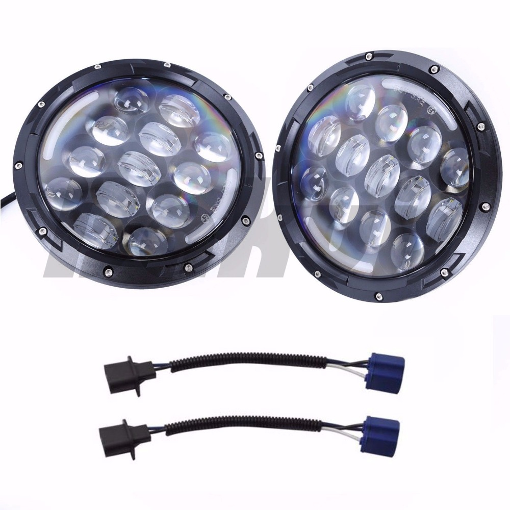 For Lada 4x4 Niva 2 PCS 105W 7 Inch Round LED Headlight with White/ amber Turn Signal DRL For Jeep Wrangler Jk Tj 06-17 1 pair 60w 7 inch round led headlight with white amber turn signal drl for jeep wrangler jk tj harley davidson