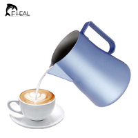 FHEAL 1pc Coffee Jug Coating Stainless Steel Espresso Milk Coffee Frothing Pitcher Barista Tools Craft Coffee Latte Milk Mug