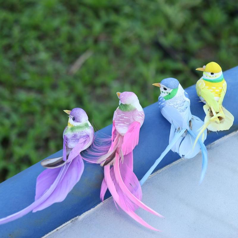 4pcs/Set Artificial Foam Feather Simulation Bird DIY Party Crafts Ornament Props Home Garden Wedding Decoration Magnet