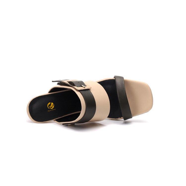 Noir Et Femme Slip 3 Femmes Vache nude 10 Sur Us Mode Nude Diapositives De Pantoufles Sandales Cuir Initiale Talons En Chaussures L'intention Black Taille Mince Ef1249 nq8Z16Unx