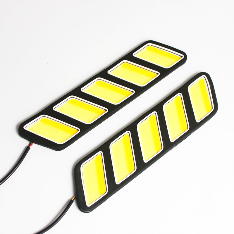 2x COB LED Day Light DRL Daytime Running Lights Super Bright Car Driving Lamp Flexible Daylight Car-styling 12V 3W 1 pair 12 led strip flexible snake style eagle eye car drl daytime running light driving daylight safety day fog lamp