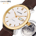 Comtex hombres mecánicos automáticos del reloj 40 m impermeable dial de oro con correa de cuero cristal de zafiro redondo grande dial s6361g-3