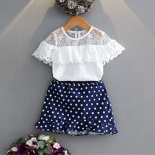 ФОТО 2 piece set fashion baby girl clothes lace ruffle collar shirt + wave point skirt set suit for2 to 6 years old girl clothes