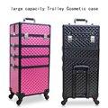 Женская косметическая сумка на колесиках большой вместимости  сумка для багажа на колесиках  набор инструментов для макияжа ногтей  многос...